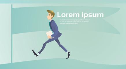 Walking Hurry Business Man Go Make Step Flat Vector Illustration