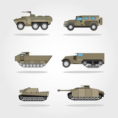 War Vehicles vector illustration. Army Vehicle vector illustration