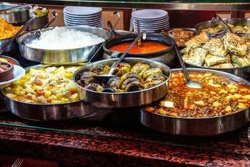 Buffet lunch in Turkish restaurant