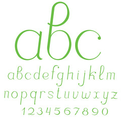 Lowercase cursive handcrafted vector alphabet.