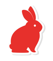silhouette red rabbit icon vector illustration eps 10