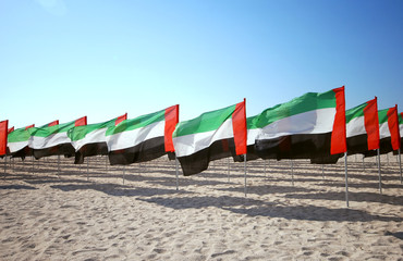 Lot of flags United Arab Emirates for the anniversary celebration on the beach. UAE Natoinal day.
