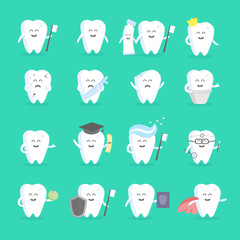 Cute cartoon tooth character set with face, eyes and hands. The concept for the personage of clinics, dentists, posters, signage, web sites