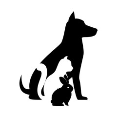 pet shop veterinary sign silhouette dog cat bunny vector illustration eps 10