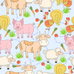 Seamless pattern with hand drawn farm animal and cock, sheep, tomato, carrot, cow, pig, grass. Cartoon summer background.