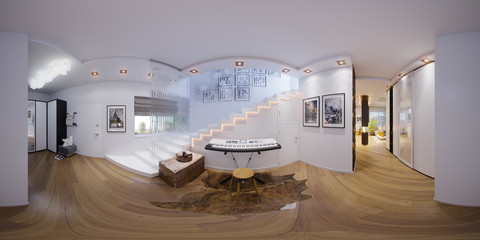 3d illustration spherical 360 degrees, seamless panorama of staircase hall interior design.