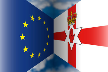 northern ireland versus european union  flags