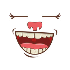 cartoon face with happy expression over white background. colorful design. vector illustration