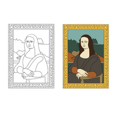 Linear flat illustration of portrait The Mona Lisa by Leonardo da Vinci.