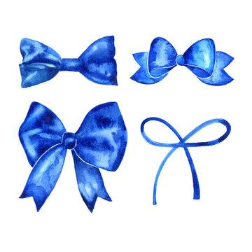 Set of beautiful hand drawn watercolor blue ribbons.