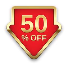 50% off golden badge, vector.