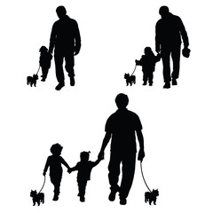 family with dog set silhouette illustration in black