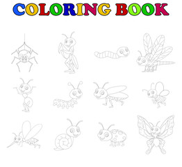 coloring book collection insects