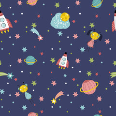Space interstellar travels cartoon seamless pattern. Flying spaceship, cute alien girls with pigtails, colorful stars, comets, Saturn and earth planets vector illustrations on dark blue background