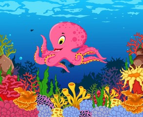 funny octopus cartoon with beauty sea life background