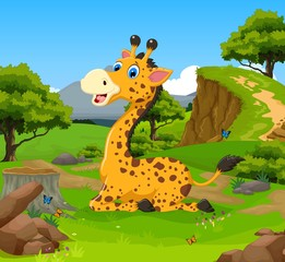 funny giraffe sitting cartoon in the jungle with landscape background