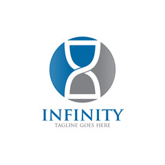 infinity hourglass time sand concept logo icon