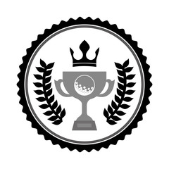 stamp with golf trophy icon  inside and decorative league elements over white background. vector illustration