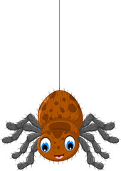 funny brown spider cartoon posing