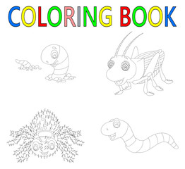 coloring book with insect collection