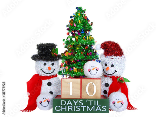 Until Christmas 99 Days Till Christmas.10 Days Until Christmas Light Beech Wood Blocks With Red