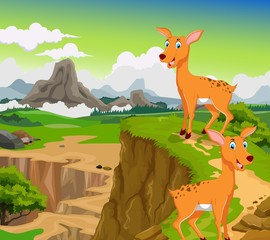 funny two deer cartoon with mountain cliff landscape background