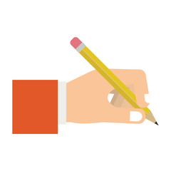 human hand holding a pencil with eraser icon over white background. colorful design. vector illustration