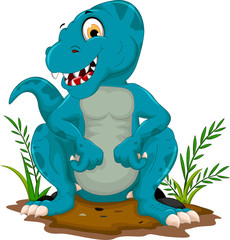 cute tyrannosaurus cartoon sitting