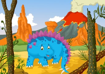 funny stegosaurus cartoon with forest landscape background