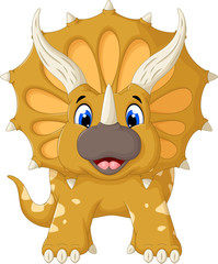 funny Triceratops cartoon look at camera