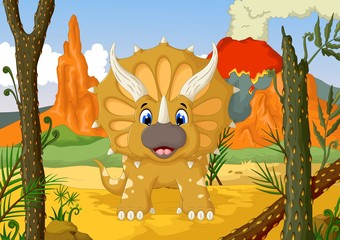 funny Triceratops cartoon with forest landscape background