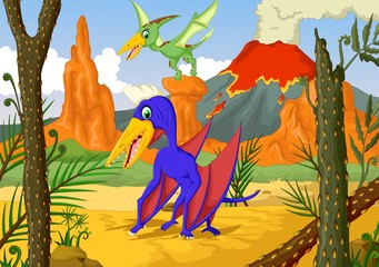 funny two pterodactyl cartoon with forest landscape background