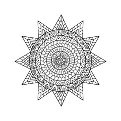 Hand drawn sun for anti stress colouring page.