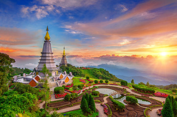 The best of landscape in Chiang mai. Pagodas Noppamethanedol & N