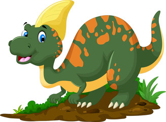 cute Dinosaur Parasaurolophus cartoon posing