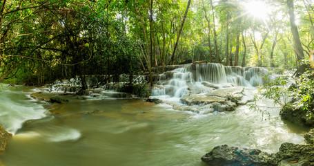 Huay Mae Kamin Waterfall, beautiful waterfall in Kanchanaburi province, Thailand.