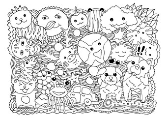 funny monster animal group hand drawn vector drawing illustration