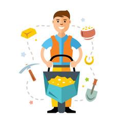 Vector Gold miner. Flat style colorful Cartoon illustration.