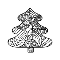 Christmas card in zentangle style for adult anti stress.
