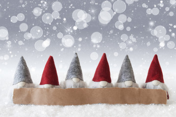 Gnomes, Silver Background, Bokeh, Stars, Snowflakes, Copy Space