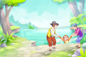 The monkey and the fisherman story cover page