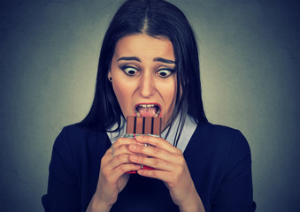 obsessed woman tired of diet restrictions craving sweets chocolate