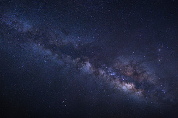 Milky Way galaxy, Long exposure photograph, with grain.High reso