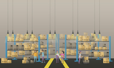 Logistic and delivery service concept banner. Warehouse interior. Vector illustration