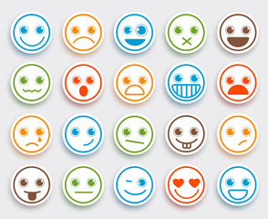 Smiley face vector emoticon set in white flat icon sticker with colorful funny emotions and facial expressions. Vector illustration.
