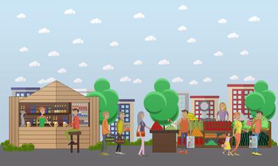 Street food market. Vector banner in flat style design