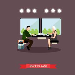 Passengers in train restaurant. Railway car interior. Vector concept poster