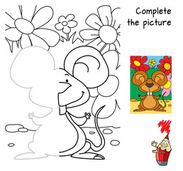 Cheerful little mouse. Complete the picture children drawing game. Coloring book. Cartoon vector illustration