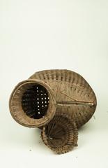 Wicker Fish Basket [Bamboo-Woven] / Thai native catching fish equipment. White background