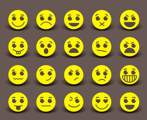 Yellow smiley face icons and emoticons with facial expressions and emotions in flat paper cut circle. Vector illustration.